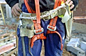 Close up of a harness used by scaffolders