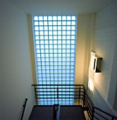 Glass brick wall in a staircase
