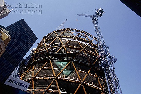 Construction of the Swiss Re Building the Gherkin London United Kingdom Designed by Norman Foster an