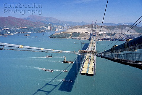 Tsing Ma suspension bridge China Constructed to link Hong Kong with Chek Lap Kok airport