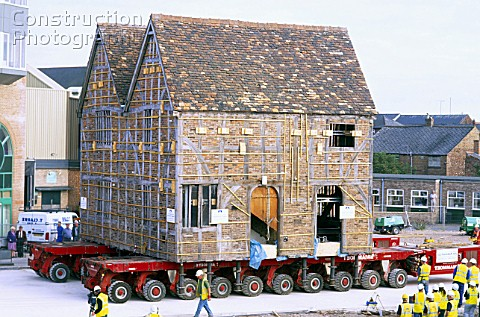 Lifting and moving intact a 15th century listed historic building to a new site in Boston UK