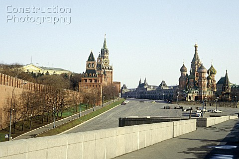 The Kremlin left and St Basils Cathedral right Looking towards Red Square Moscow Russia