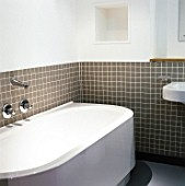 Apartment bathroom. Chorlton Mill. Manchester, United Kingdom.