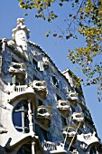 Facade of Casa Batllo apartment building, designed by Antoni Gaudi. Barcelona, Catalunya, Spain.
