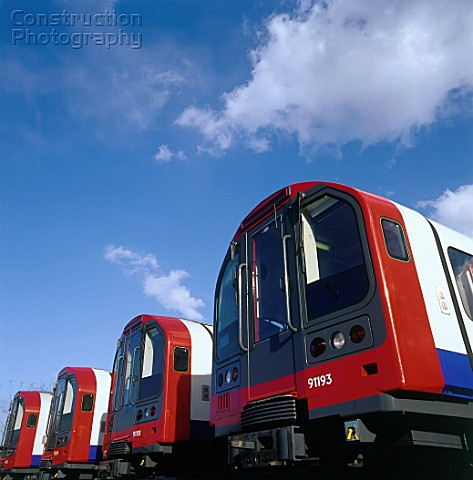 New London Underground trains in sidings United Kingdom
