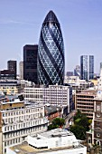30 St. Mary Axe, The Gherkin Swiss-Re building, London, UK. Norman Foster and Partners Architects
