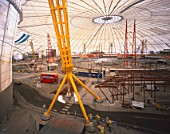 Interior construction of the Millennium Dome, Greenwich, London, UK