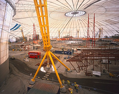 Interior construction of the Millennium Dome Greenwich London UK
