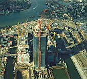 Construction of Canary Wharf, Docklands, London, UK