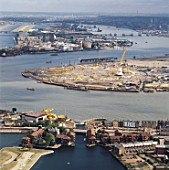 Millennium Dome construction site, Greenwich, London, UK, aerial view