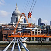 Construction of the Millennium Bridge, London, UK