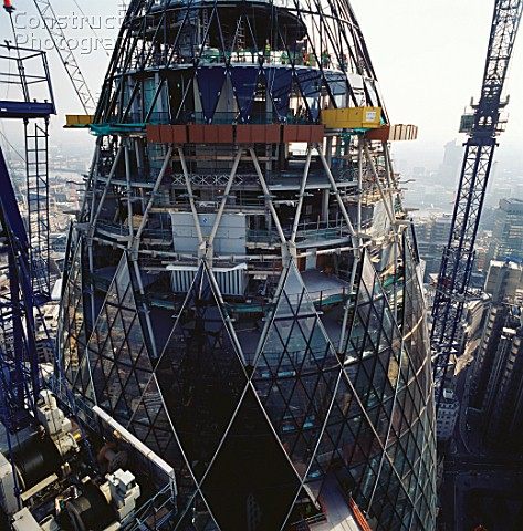 Construction of 30 St Mary Axe or the Gherkin London UK