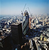 Construction of 30 St Mary Axe or the Gherkin, London, UK