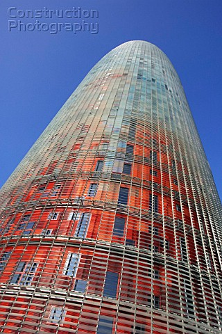 a024 00313 the 144 meters torre agbar tower in barcelon construction photography. Black Bedroom Furniture Sets. Home Design Ideas