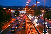 Evening rush hours. Traffic on the M25, London.