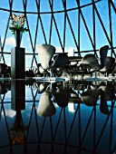 30 St Mary Axe, or the Gherkin, tables and chairs at the top of the tower