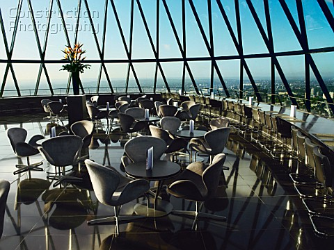 View from restaurant at the top of 30 St Mary Axe or the Gherkin London UK