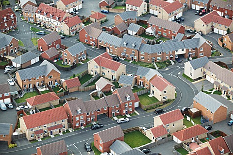 Housing estate UK aerial view