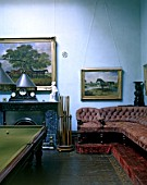 Snooker room in an old fashioned manor house, England