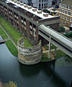 Barbican Estate, London. View onto roofs of wallside showing the remains of the Middle-Age Londons Wall.