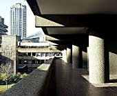 Barbican Estate, London. View towards the Arts Centre from the podium below Speed House.