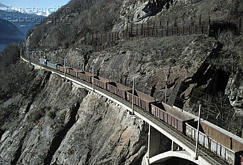 Freight train at Lotscherg Railway track  Swiss Alps  canton of valais  Switzerland