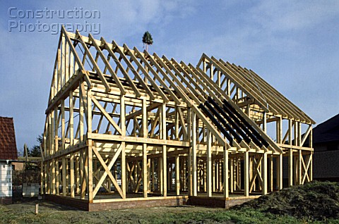 Construction site of timber framework of single family house