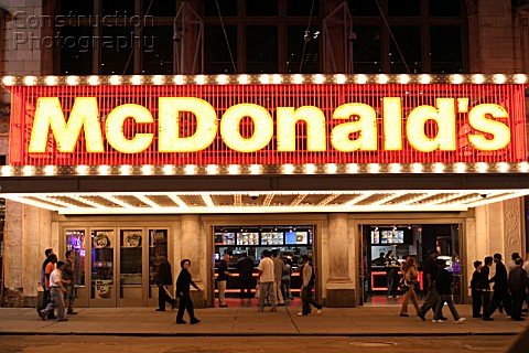 Economy USA Mc Donalds Fast Food Restaurant at 42nd Street in New York City