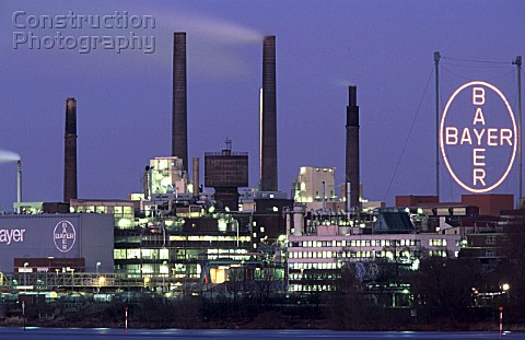 Chemical plant and headquarters of BAYER in Leverkusen on the bank of the Rhine river Germany