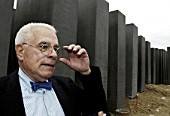 Peter Eisenmann, architect of the memorial for the holocaust. The £18m monument, designed by American architect is made up of more than 2,700 concrete blocks covering an area equivalent to two football pitches close to BerlinÕs Brandenburg Gate