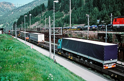 Austria Brenner Pass border to Italy Trucks are loaded on railroad cargo The Brenner Pass is the mos