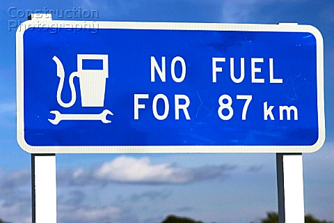 New Zealand traffic sign no petrol station for the next 87 kilometers