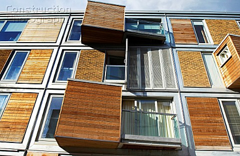 Regeneration of East London UK Example of a new property development built with sustainable material