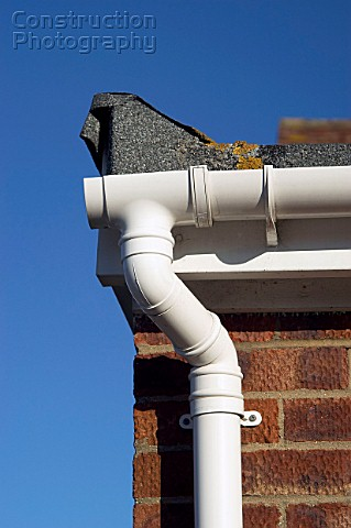 A052 00594 Pvc Downpipe Connected To The Gutter