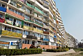 Falowiec (The Wave), the longest residential building in Europe, the communist-era residential block stretches for over one kilometre and was built during the early 1970s, Przymorze district of Gdansk, Poland