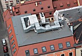 Air-conditioning vent system on a roof of an office building, Wroclaw, Poland