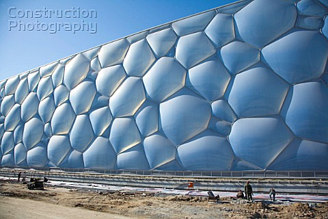 A059 00092 olympic swimming pool under construction be construction photography for Beijing swimming pool olympics