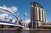 Lowry Footbridge, Salford Quays, Manchester, United Kingdom.
