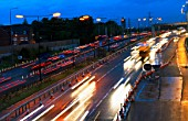 Evening rush hours during roadworks. Traffic on the M60 motorway, Manchester, UK.