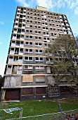 Derelict high-rise council tower block ready for demolition, Manchester.