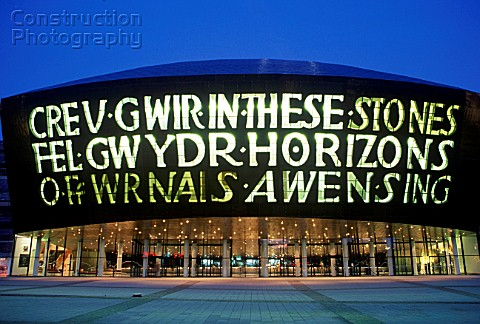 Wales Millennium Centre at Night Cardiff Bay South Wales Designed and built in Wales the WMC on Card