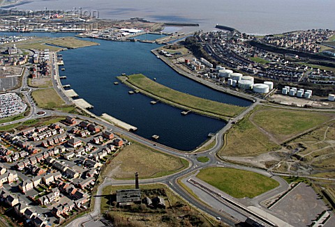Aerial Barry Waterfront and Docks Vale of Glamorgan South Wales