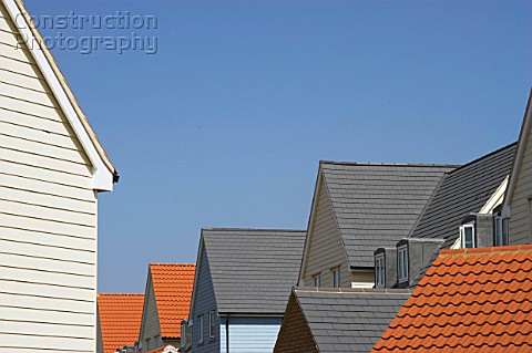 Housing on a modern estate Detail of roofs