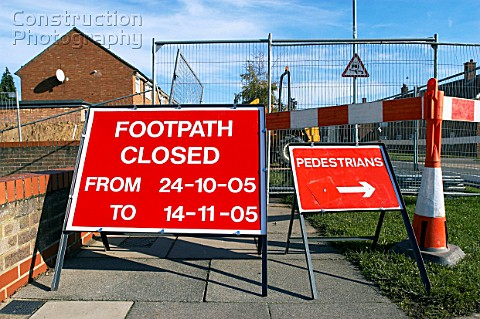 Footpath closed to pedestrian access England UK
