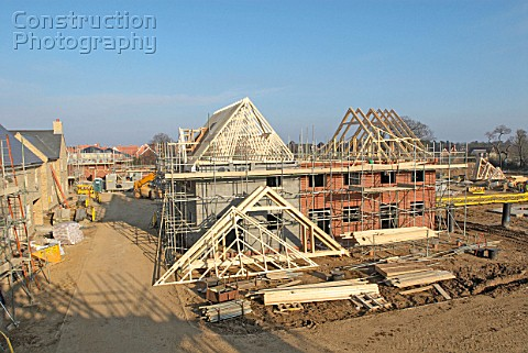 Residential housing development under construction South East England UK