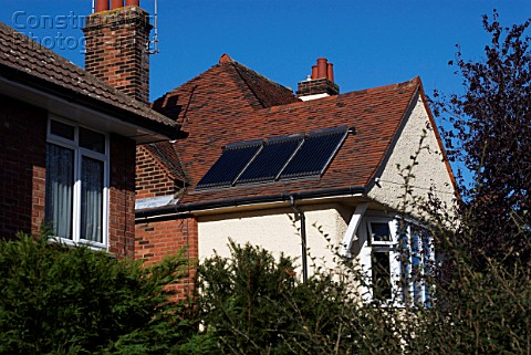 Solar panel installed on a pitched roof England UK