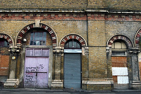 Dilapidated railway arch units UK