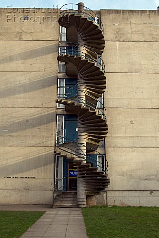 Concrete Spiral Exterior Staircase Norwich University United Kingdom