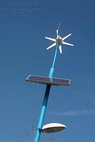 Wind and solar powered lighting at Mile End Park East London UK