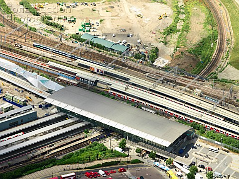 Aerial view of Stratford Regional DLR rail station at the edge of the Olympic Park Stratford London